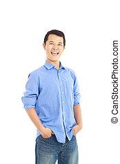 jeune, sourire, homme asiatique