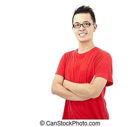 jeune, t-shirt, intelligent, asiatique, rouges, homme