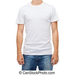 jeune, t-shirt, vide, sourire, blanc, homme