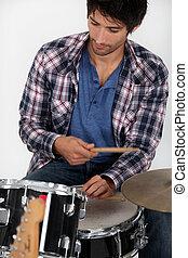 jeune, tambours, jouer