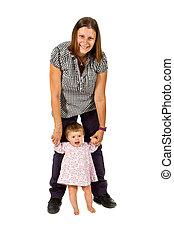 jeune, tenue, mère, bébé, portrait, girl, heureux