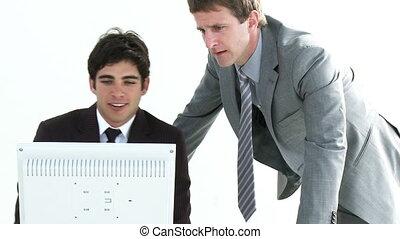 jeune, toget, hommes affaires, fonctionnement, deux