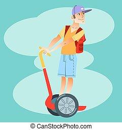 jeune, touriste, sur, scooter électrique