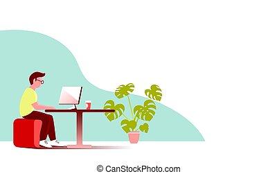 jeune, travaux, bureau., informatique, homme