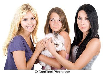 jeune, trois femmes