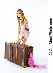 jeune, valise, femme