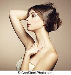 jeune, vendange, woman., style, beau, photo