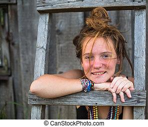 jeune, village., dehors, portrait, girl, agréable