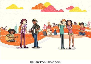 jeune, ville, dessin animé, gens