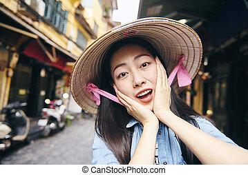 jeune, ville, portrait, hanoï, vietnamien, femme