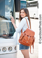 jeune, voyager, girl, transport commun, séduisant