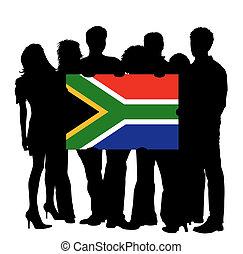 jeunes, à, a, drapeau, de, afrique sud
