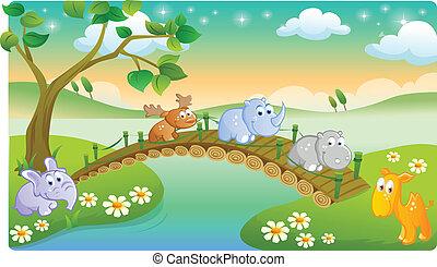 jeunes animaux, jouer, dessin animé