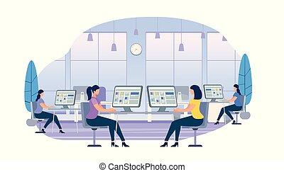 jeunes femmes, travailler, ordinateurs, reposer bureaux