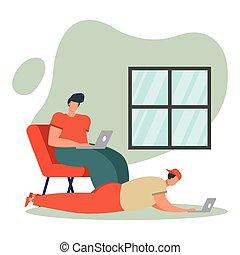 jeunes hommes, livingroom, portables, utilisation, ...
