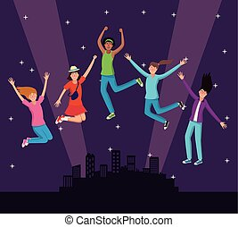 jeunes, sauter, à, ville, nuit