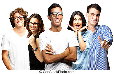 jeunes, sourire, sur, fond blanc