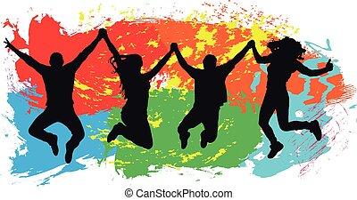 jeunesse, coloré, gens, sauts, jeune, gai, arrière-plan., sauter, amis