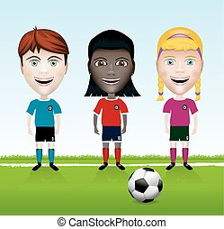 jeunesse, football, illustration, équipe
