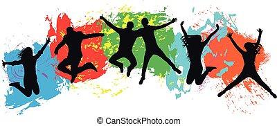 jeunesse, foule, coloré, gens, joie, sauts, jeune, gai, arrière-plan., sauter, friends., gouttes