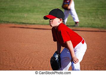 jeunesse, genoux, mains, joueur base-ball
