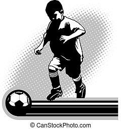 jeunesse, joueur, football