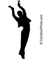 jeunesse, noir, silhouette, danse