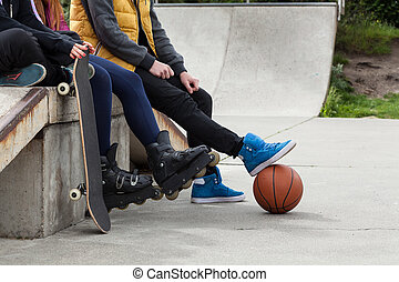 jeunesse, temps, spends, gratuite, skatepark