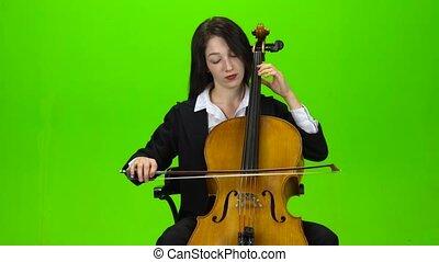 jeux, écran, cello., vert, girl, assied
