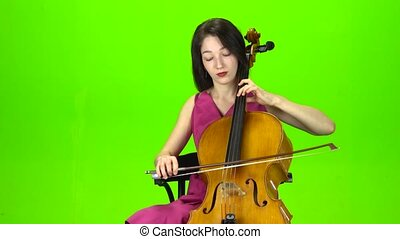 jeux, écran, cello., vert, girl, robe