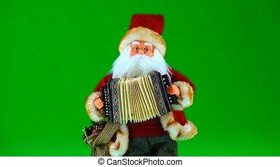jeux, écran, claus, instrument, vert, santa, musical
