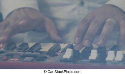 jeux, électrique, stage., synthétiseur, clés, piano, musicien, acteur, keys., instrument, synthétiseur, clavier, presse, piano joue, musical, concert