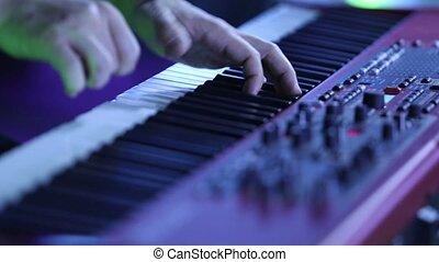 jeux, électrique, stage., synthétiseur, piano, musicien, acteur, keys., instrument, clavier, piano joue, musical, concert