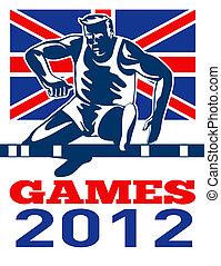 jeux, 2012, traquer champ, obstacles, drapeau britannique