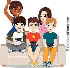 jeux, amis, vidéo, jouer