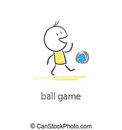 jeux, ball., homme