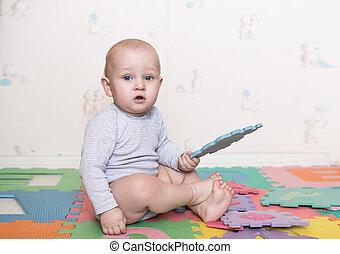 jeux, blocs jouet, enfant