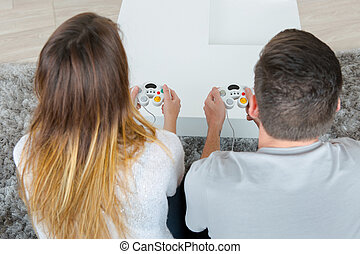 jeux, couple, vidéo, jouer, maison