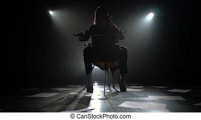 jeux, fond, plancher, dispersé, silhouette., noir, violoncelle, fumée, feuilles, girl, composition, notes.