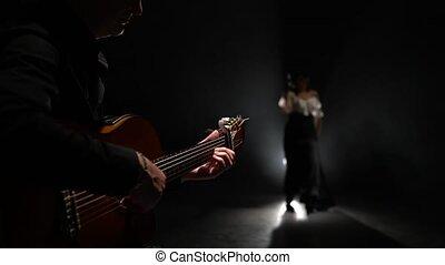 jeux, fumée, danser., lumière, guitare, noir, behind., fond...