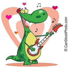 jeux, guitare, dinosaure