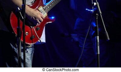 jeux, guitariste, guitare, bande, rocher, projecteur, étape