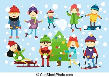 jeux, jouer, noël, hiver, gosses