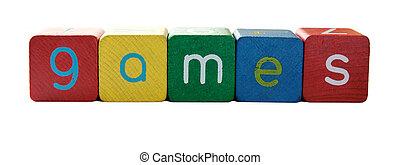 jeux, lettres, bloc, mot