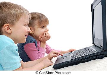 jeux ordinateur, enfants jouer