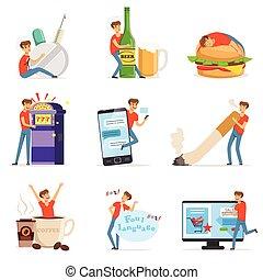jeux & paris, drogue, fumer, vecteur, obésité, habitudes, ...