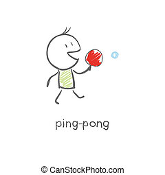 jeux, ping-pong, homme