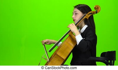 jeux, screen., cello., vert, girl, assied, vue côté