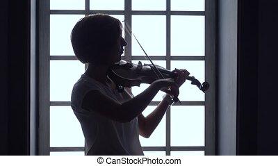 jeux, silhouette, contre, fenêtre, fond, violon, girl