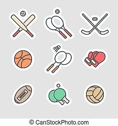 jeux, sport, autocollants, coloré